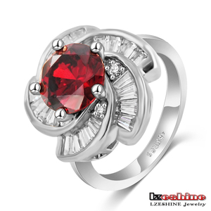 Traditional Jodha Akbar Ring Red Ruby Color Natural Stone Flower Rings CRI0205-B