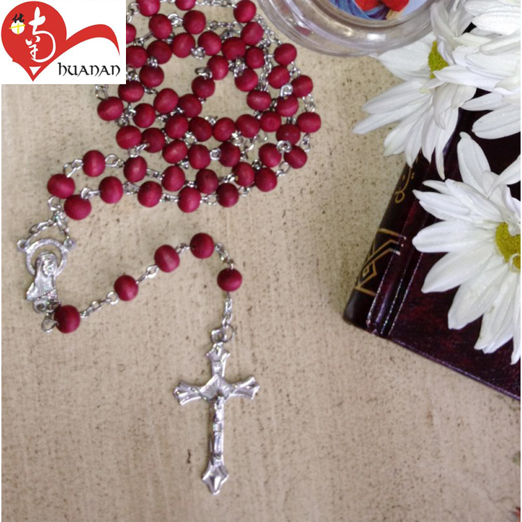 European popular Fatima scented wooden beads chains rosaries crosses for necklaces