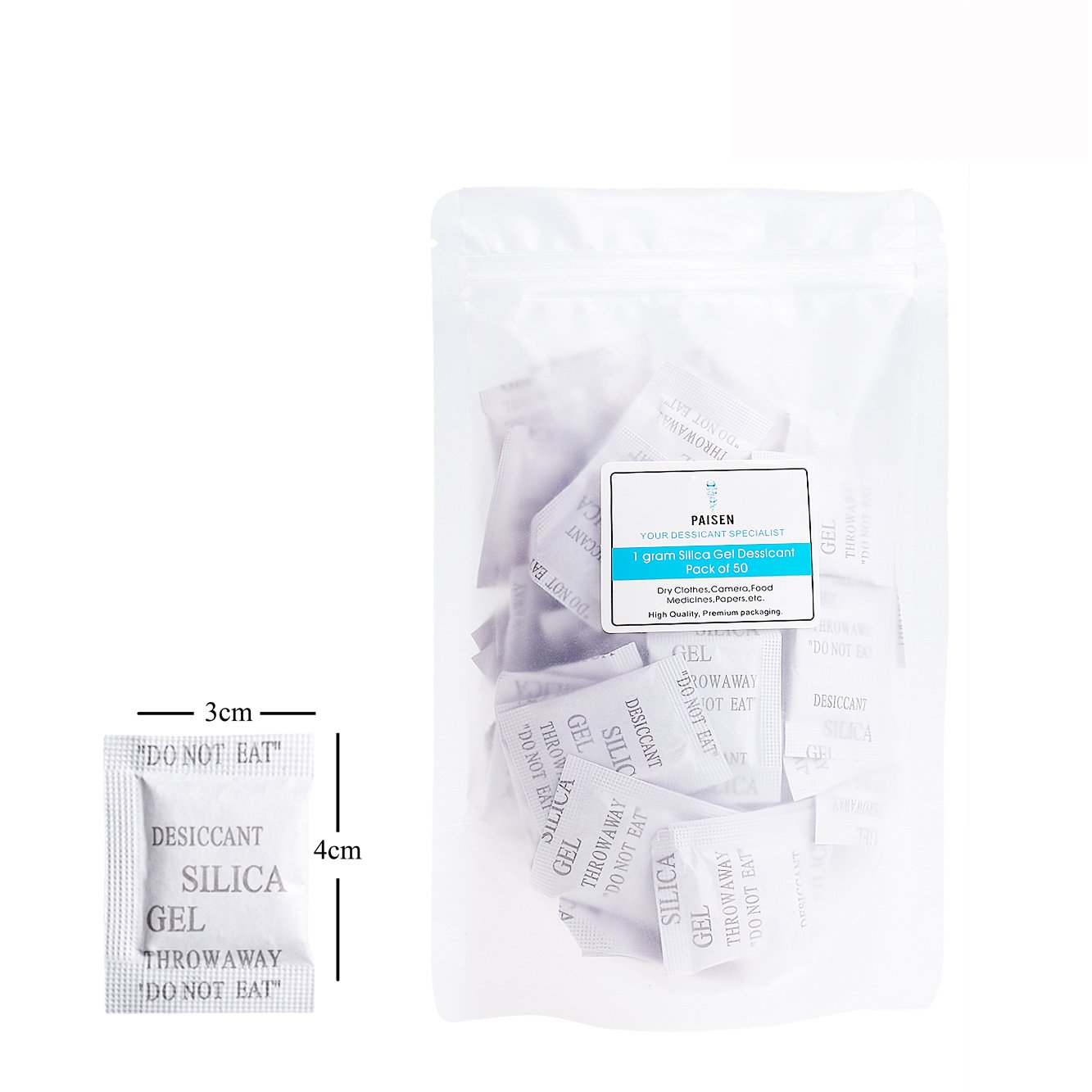 (50 packs & 1 gram each) Silica Gel Desiccant, Dehumidifier Bags with Clear Moisture Gel Beads and Composite Paper (inside) Drying Desiccant Packets