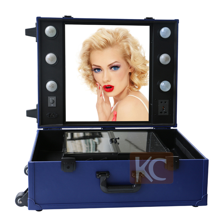 Train Makeup Case Mirror Lighted
