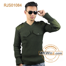 Olive Green Military Wool Knit Police Sweater Pullover Army Tactical Commando Sweater