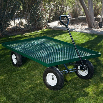 500kg Heavy Duty Garden Nursery Wagon Cart 13 Pneumatic Tires Metal With Mesh Deck Tool