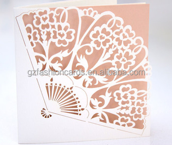 2016latest korean hand fan shaped laser cut wedding invitation card 2016latest korean hand fan shaped laser cut wedding invitation card stopboris Image collections