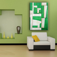 Custom size beautiful green and white color abstract wall decor canvas art painting