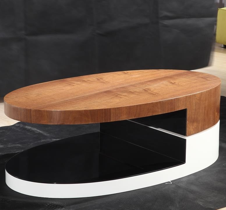 Modern fashion oval shape rotation wooden center table for Sofa center table designs