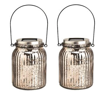 Gl Mason Jar Hanging Solar Lanterns