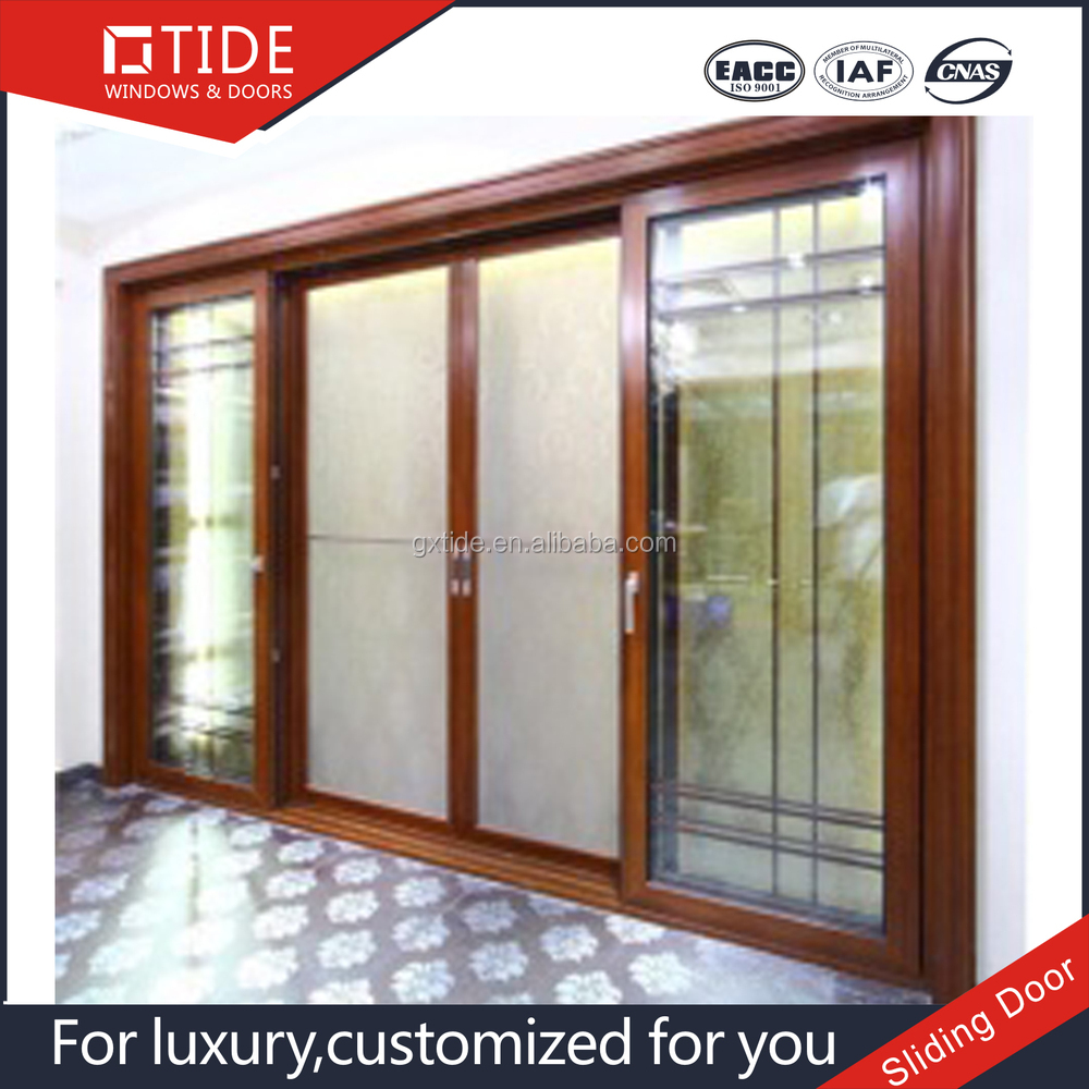 Easy open and reinforced sliding door aluminum and wood - Puertas de cristal correderas ...