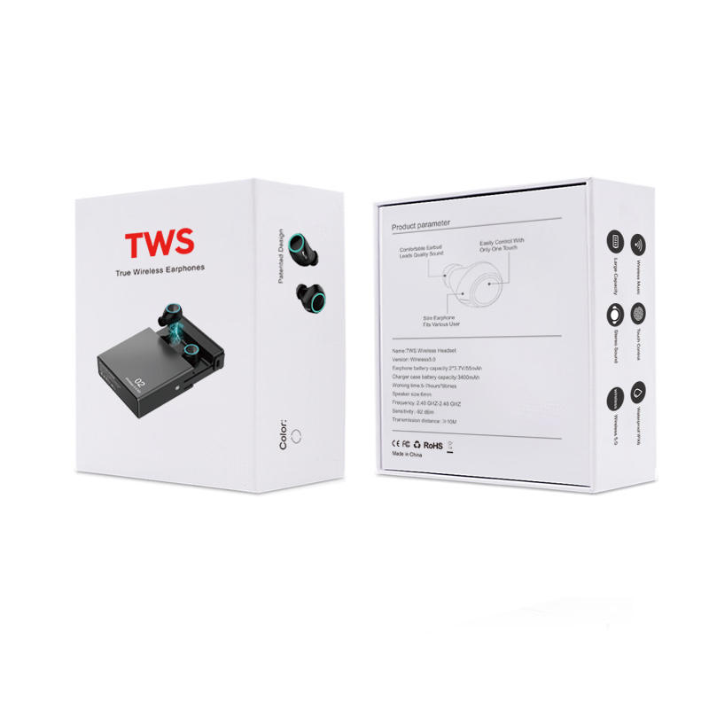 Smart BT 5.0 Stereo Waterproof Ear Buds Wireless Magnet Earphone TWS With Charging Box