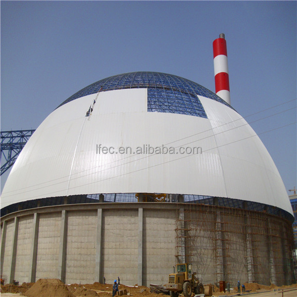 large span steel structure space frame for dome coal storage