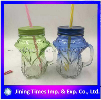 Awesome 2017 450ml Fox Glass Mason Jar With Straw Drinking Bottle Storage Jar