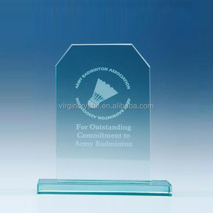 New Design Crystal Awards With Badminton Image For Army Badminton Sport