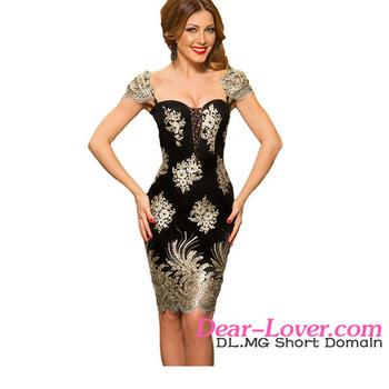 26c8b88366 Mexicano bordado puff manga poco negro cóctel corto mujeres vestidos de  noche