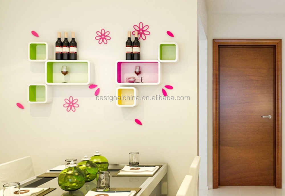 Colorful Show Case Display Wooden Wall Show Box Decorative Wall Floating  Cube Storage DIY Shelves