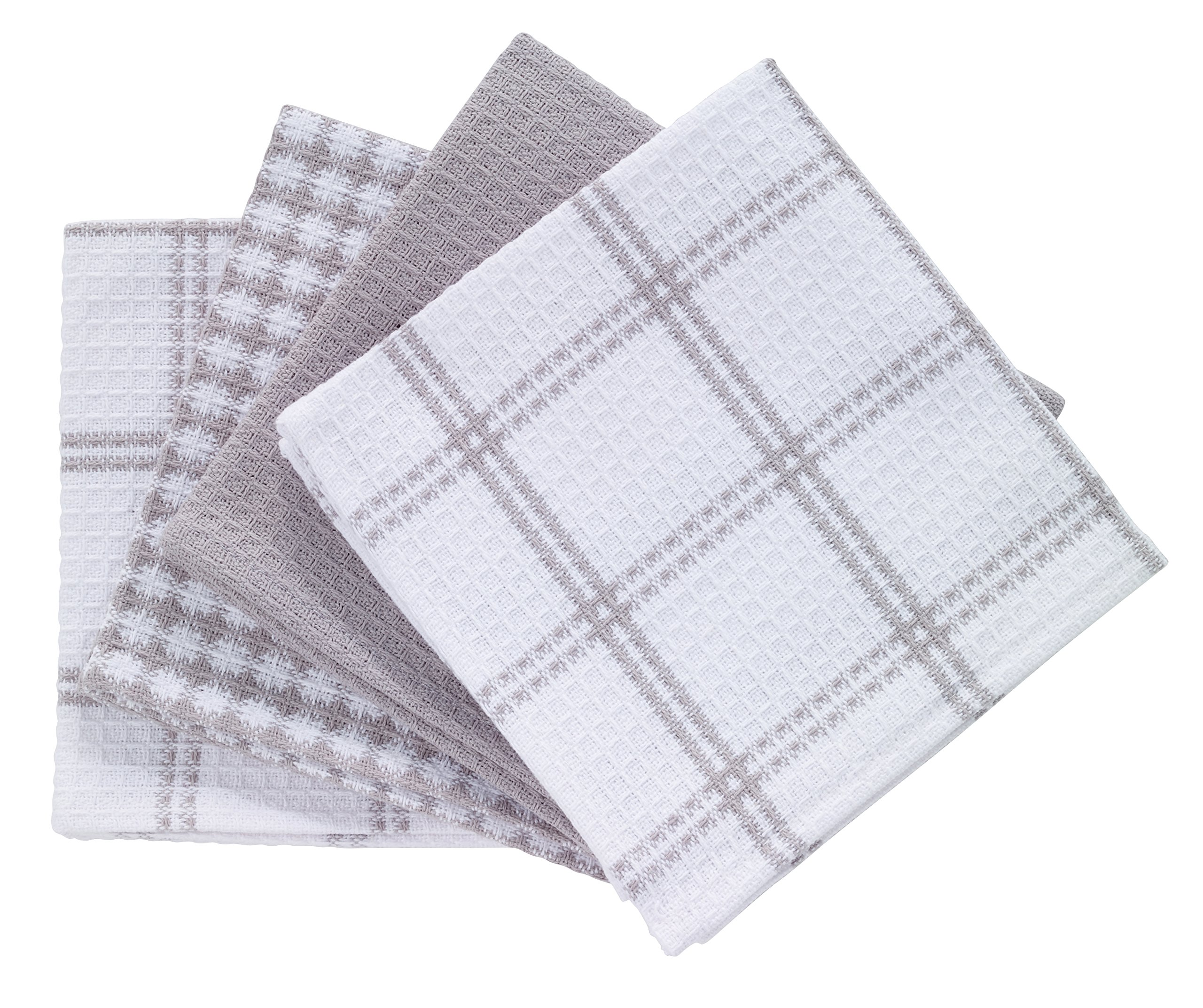 "T-fal Textiles 100% Cotton Waffle Weave Kitchen Dish Cloths, 12"" x13"", Set of 4 Designs, Gray"