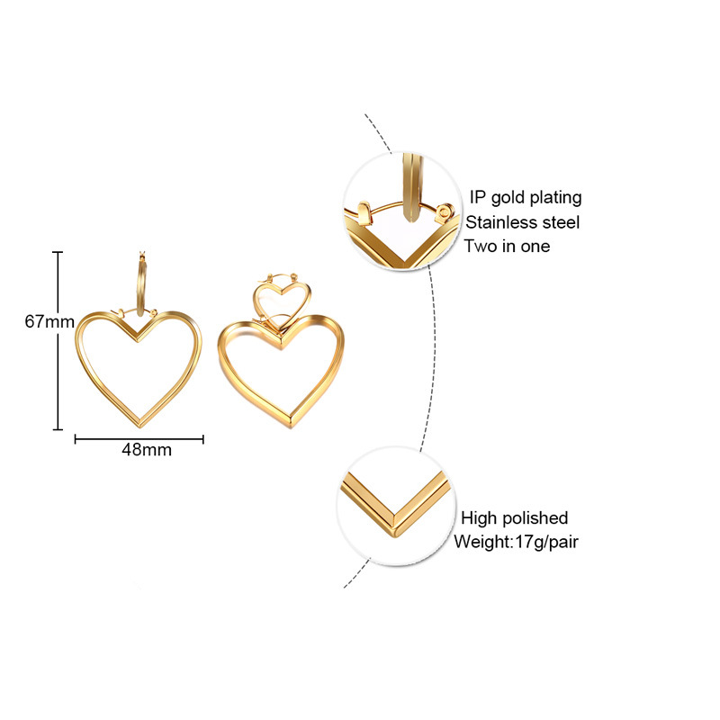 Fashion Jewelry Stainless Steel Two in One Smart Earrings with Heart