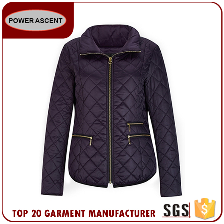 Good Quality Women Stand Collar Diamond Quilted Casual Wearing Warm Padding Jacket For Sale