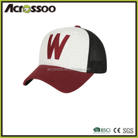 Multicolor 3D embroidery patch half mesh cap, polyester contrast color visor sports cap