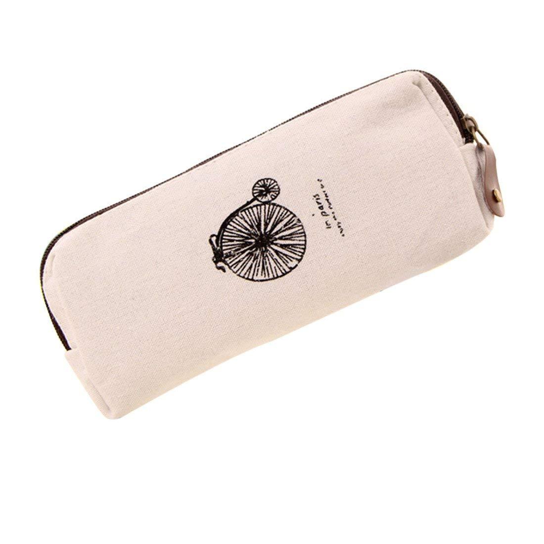 ASKCUT Pen Pencil Case,Retro Paris Style Cotton and Linen Canvas Large-capacity Multifunctional Storage Bag Creative Pure Color Stationery Bag (cream-colored)