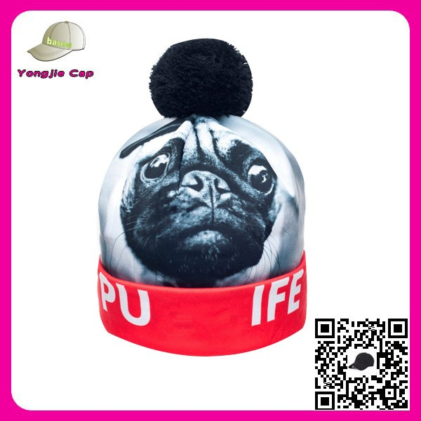 Multi Designs Factory Directly Wholesale Unisex Best- selling 3D Digital Print Custom Free Pom Beanie Hats with Top Ball