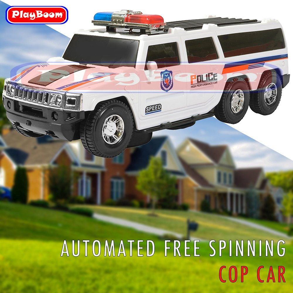 db1b0c5fa3d3 Get Quotations · PlayBoom Bump And Go Super Police Car - SUV With Lights  And Sirens - Spins 360