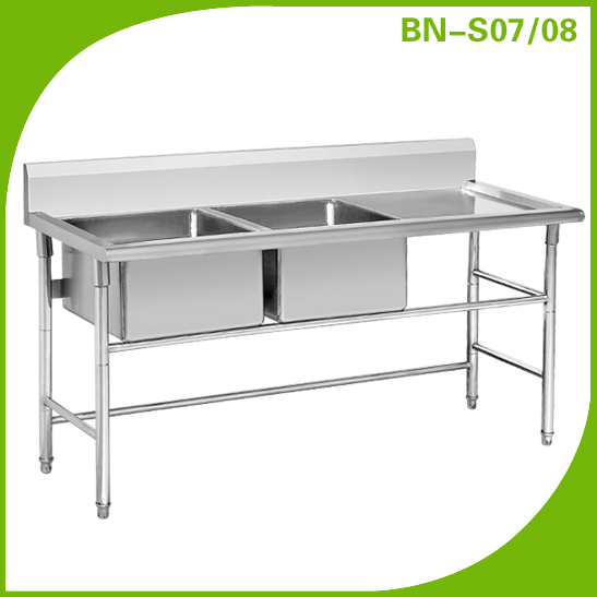 China Production Stainless Steel Double Bowl Sink For Kitchen Bn S07   Buy  Double Drainer Stainless Steel Kitchen Sink,Industrial Stainless Steel Sinks  ...