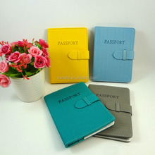 newest fashion pu leather cover passport case with clasp