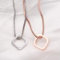 Queena New Fashion Titanium Steel Plated 18K Rose Gold Box Chain Geometric Square Pendant Simple Necklace