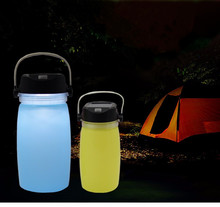Romantice gift power bank Solar camping lamp silicone bottle lantern