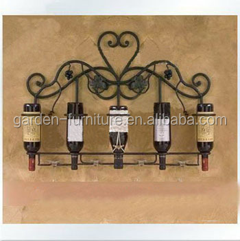 Home Kitchen Decor Wrought Iron Wine Racks, Unique Metal Wine Racks, Wall  Mounted Wine