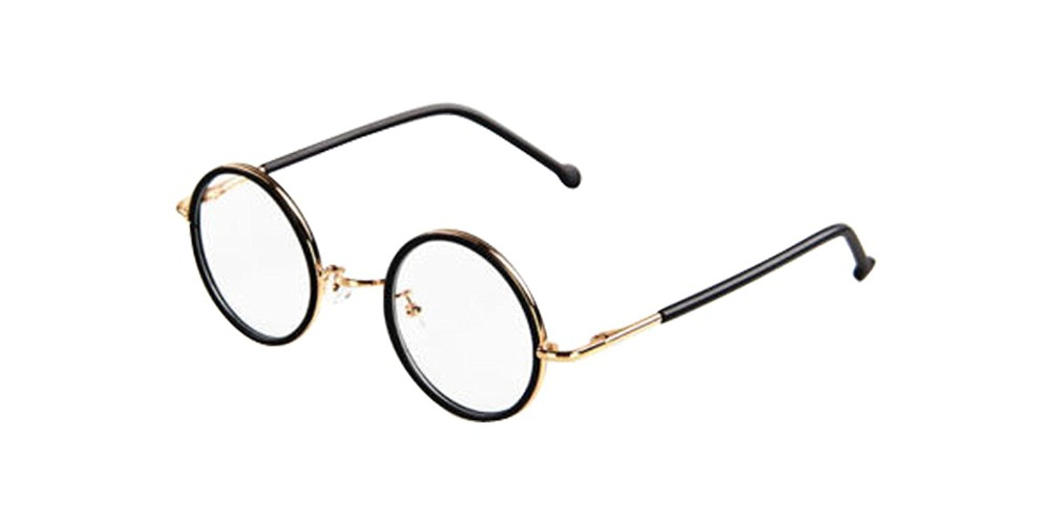 Matte Black Vintage Small Round Eyeglass Frames Glass Spectacles Retro UNI Optical Eyewear