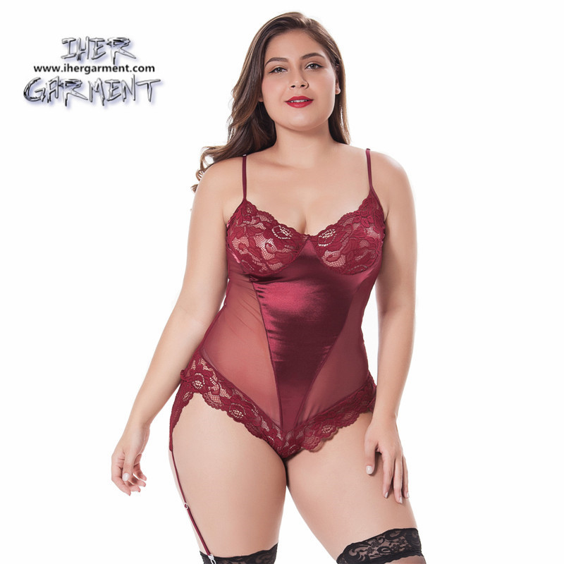 Sexy matured women erotic plus size lingerie teddy with garterbelt hot  teddies lingerie for pretty fat girl IH-B7100WR
