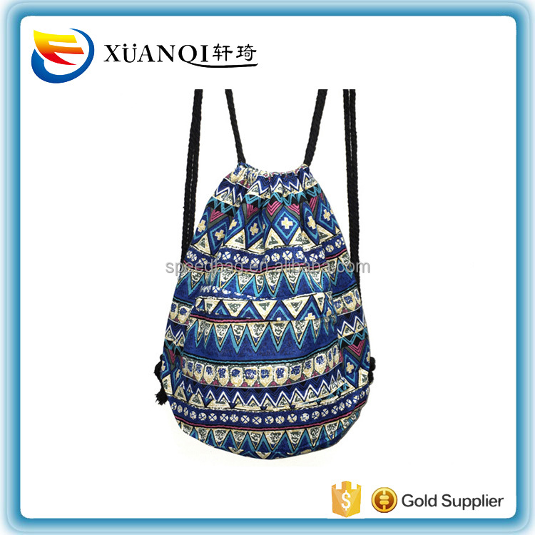 Fabric Women Backpacks Large Capacity Shoulder Bag Bohemian Style Tribal Drawstring Rucksack 20 Colors Cotton Daypack Hobo