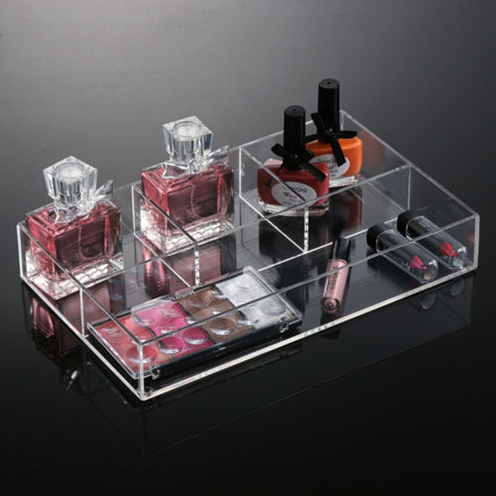 High Quality Acrylic Cosmetic Organizer Tray Makeup Tray with Dividers, Acrylic Cosmetic Makeup Display Tray