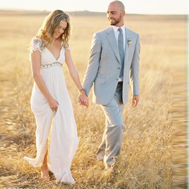Backless Beach Wedding Dresses V Neck Flowing Vintage Boho: Elegant-V-Neck-Sample-Chiffon-Beach-Wedding-Dresses