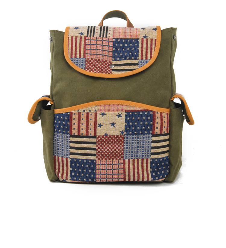 Fashion women custom canvas backpack with embroidery