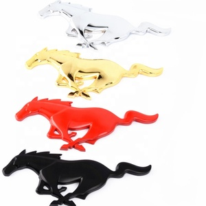 3D Metal Running horse Logo Front Hood Grille Emblem 3M glue Sticker Pony Horse Decal for Ford Mustang Shelby GT