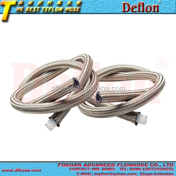 Stainless steel braided high pressure flexible teflon hose small bend radius ptfe hose