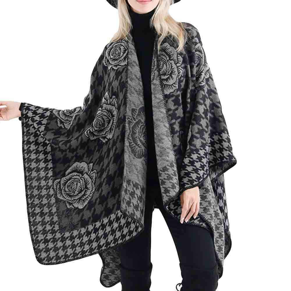 """Women Casual Blanket Flower Print Scarf Large Size Gorgeous Shawl Wrap Gift Cardigans Sweater Coat 59.1x53.1"""""""