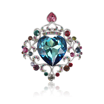 00039 xuping fashion colorful crown heart shaped brooch made with crystals from Swarovski for wedding in bulk