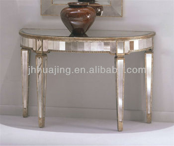 Hot Antique Gold Trimmed Half Circle Mirrored Dressing Table Hall Console