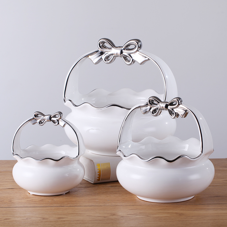 Exquisitely made and silver smooth surface ceramic bowl factory wholesale big size white bowls
