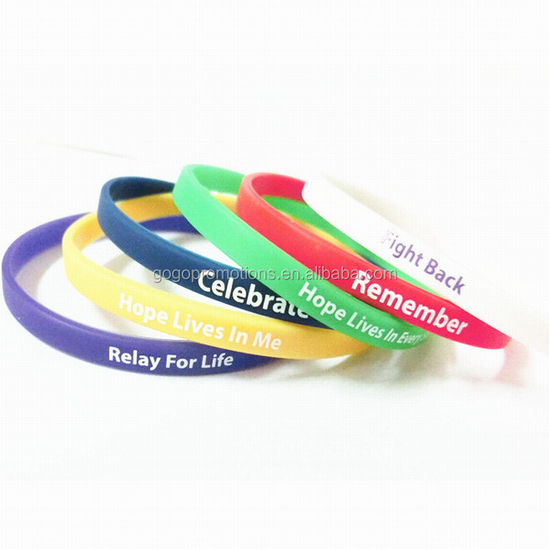 Customized Logo Friendship Thin Silicone Bracelets with Sayings for Promotion,Fashion Customized thin Silicone Wristbands