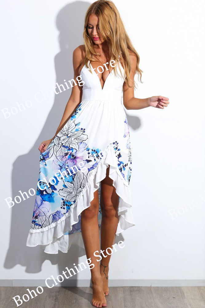 5b84f8d7d80 Buy Hippie Boho Chic Female Sexy Long White Sundress Sundress for Women  Summer Sun Dresses Flowy Dress Blue Long Floral Maxi Dress in Cheap Price  on ...
