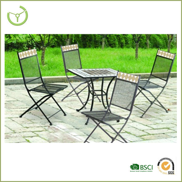 2016 cheap tables and chairs for events-5pc folding outdoor mosaic club set