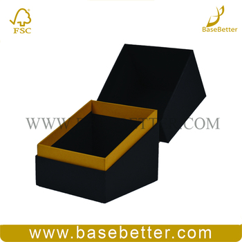 Custom Hard Cardboard Black Jewelry Box Gift Box Packaging With