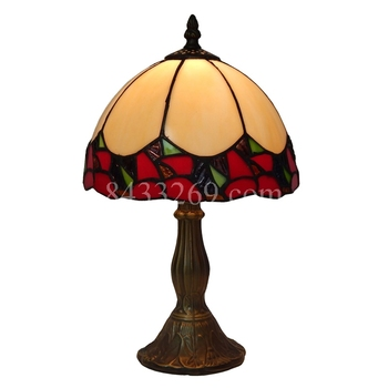 wholesale tiffany style 8 inch bedside table lamp with flowers