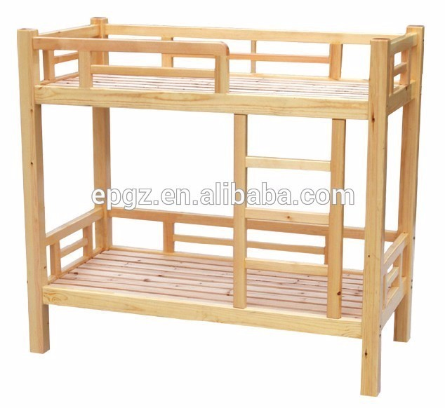 Solid Pine Wood Bed Double Decker Bunk Bed For Children