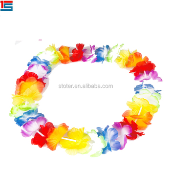 ip necklace lei com hot flower party luau walmart pink in