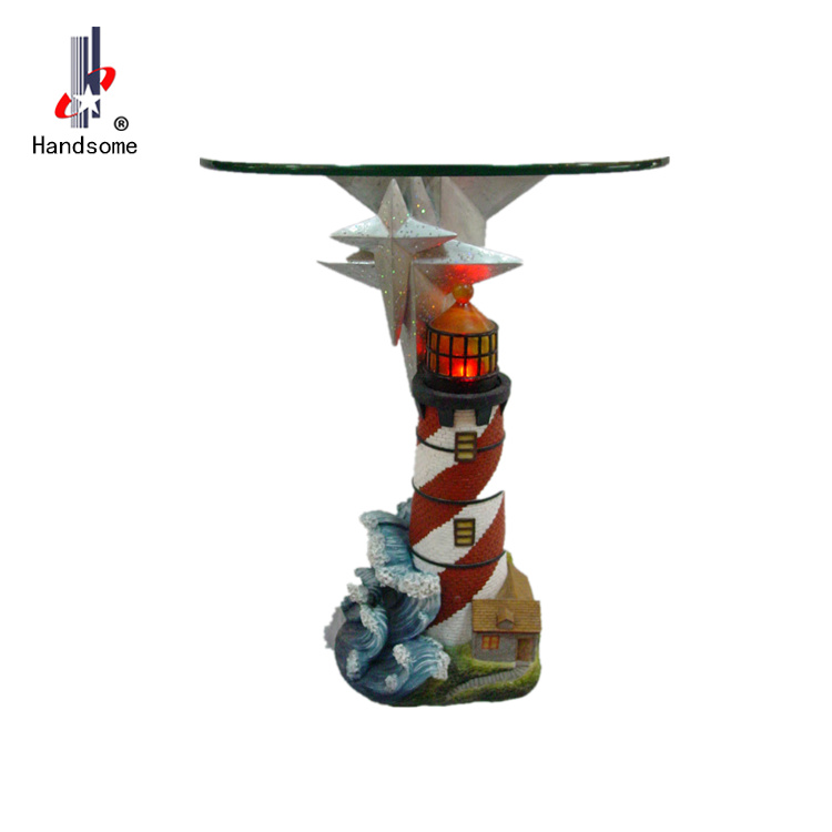 24 Inch Resin Led Lighthouse Glass Table