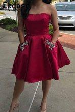 Элегантное Атласное короткое платье для выпускного вечера с карманами 2020 сексуальное платье для выпускного вечера с открытой спиной для де...(Китай)